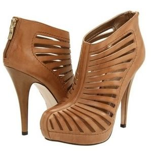 BCBGeneration  Eddah Tobacco Cage Booties Heels